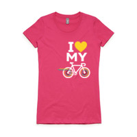 Fitted tee – road bike – PINK