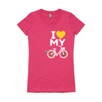 Fitted tee – step-through bike – PINK