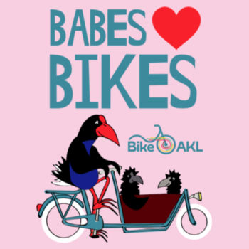 Infant wee tee – Babes [heart] bikes – blue, pink Design