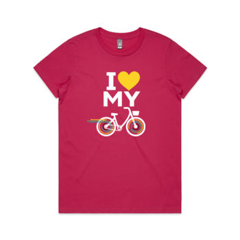 Crew neck – step-through bike – pink, black Thumbnail