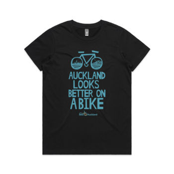 Crew neck – Auckland Looks Better on a Bike – black Thumbnail