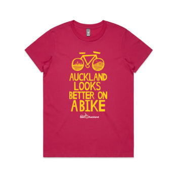 Crew neck – Auckland Looks Better on a Bike – pink Thumbnail